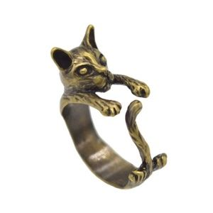 Clinging Cat Tail Ring in Bronze or Antique Silver